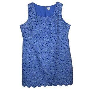 J. Crew Cotton Lined Scalloped Sheath Dress
